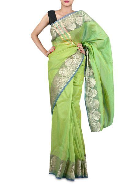 Green Banarsi Silk Kota Weaven Border Saree