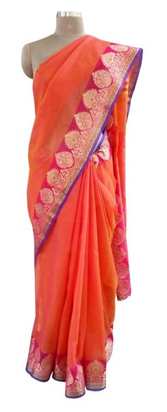 Reddish Orange Banarsi Silk Kota Weaven Border Saree