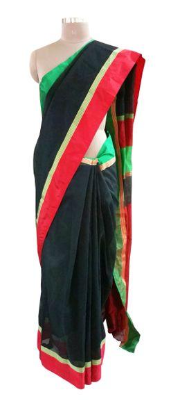 Black Silk Kota Cotton saree Ganga Jamuna Border with Running Blouse