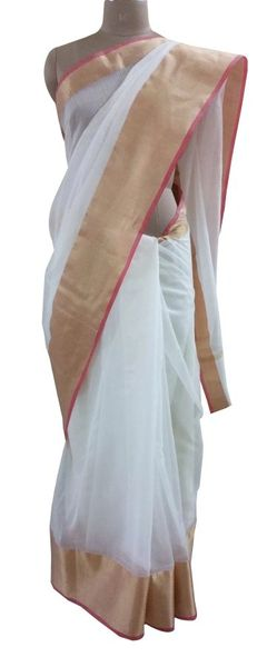 Off White Silk Kota Cotton saree with Running Blouse