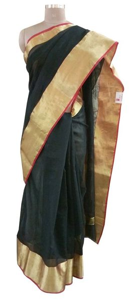 Black Silk Kota Cotton saree with Running Blouse