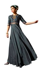 Designer Ready to Wear Gray Slub Satin Silk Embroidered Long Gown Dress Size 42 A422