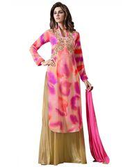 Designer Orange Georgette Embroidered Dress Material With Chiffon Dupatta M1123