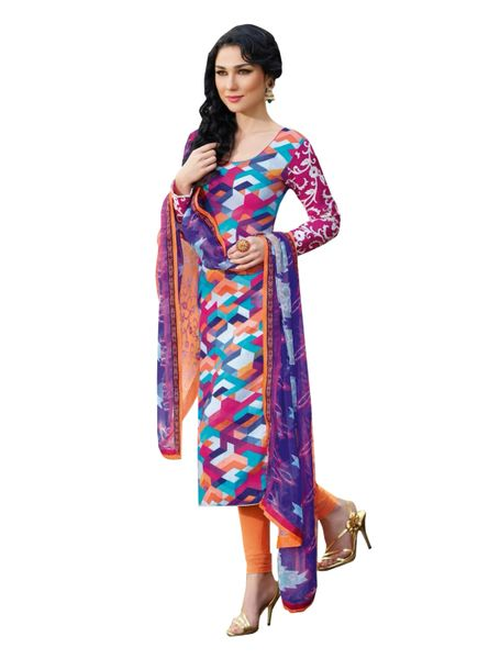 Designer Satin Cotton Multi Printed Dress Material With Chiffon Dupatta SC8279