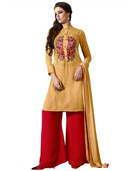 Designer Yellow Georgette Embroidered Dress Material With Chiffon Dupatta M1124