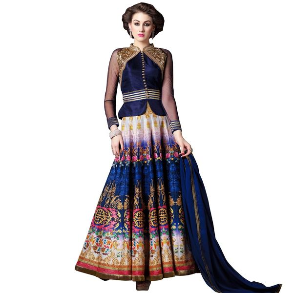 Designer Semi Stitched Indo Western Fusion Wear Long Dress Material V4704