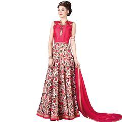 Designer Semi Stitched Indo Western Fusion Wear Long Dress Material V4708