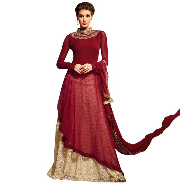 Designer Maroon Cream Semi Stitched kurta and Lehenga Set Dress Material