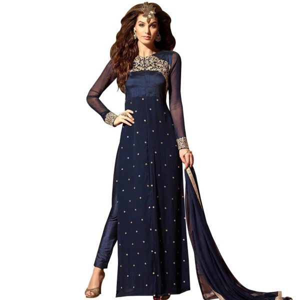 Designer Dark Blue Embroidered Georgette Trouser Style Dress Material