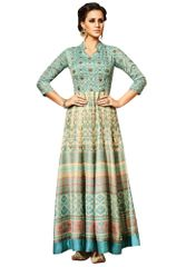 Semi Stitched Cream Turquoise Chandan silk Long Dress Material VP10006