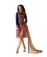 Designer Blue Georgette Embroidered Dress Material With Nazmeen Dupatta M10028