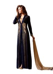 Designer Blue Georgette Embroidered Dress Material With Nazmeen Dupatta M10030