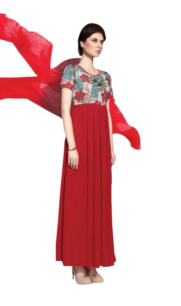 Designer Red Georgette Embroidered Dress Material With Chiffon Dupatta B7144