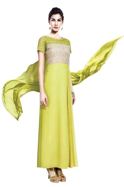 Designer Green Georgette Embroidered Dress Material With Chiffon Dupatta B7145