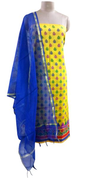 Designer Banarsi Yellow Cotton Silk Weaven Shalwar Kameez Dress Material BSD12