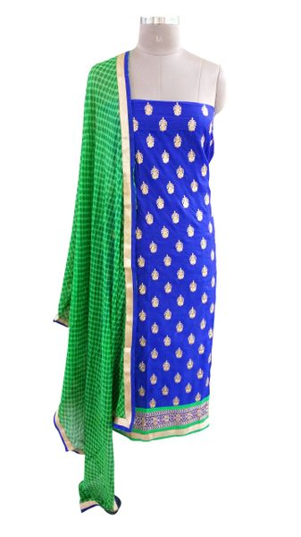Designer Blue Cotton Embroidered Shalwar Kameez Dress Material BSD15