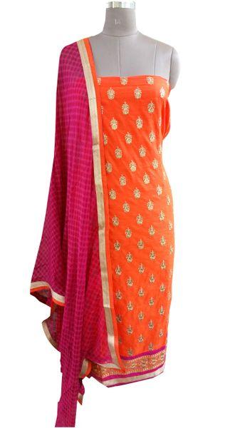 Designer Orange Cotton Embroidered Shalwar Kameez Dress Material BSD16