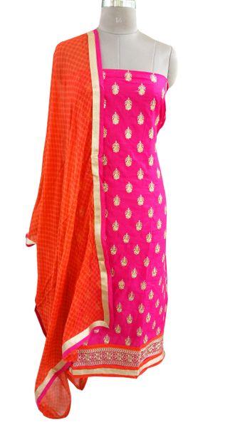 Designer Pink Cotton Embroidered Shalwar Kameez Dress Material BSD17