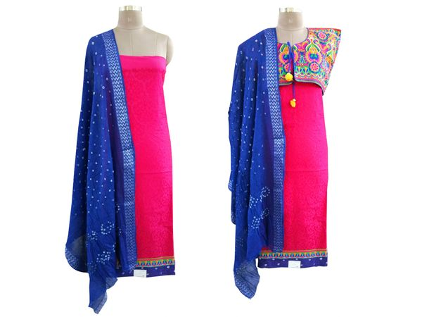 Exclusive Pink Cotton Dress Material With Kutchi Embroidered Ethnic Jackets JSD14