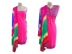 Exclusive Pink Cotton Dress Material With Kutchi Embroidered Ethnic Jackets JSD17