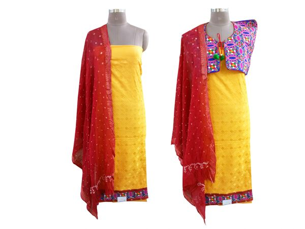 Exclusive Yellow Cotton Dress Material With Kutchi Embroidered Ethnic Jackets JSD21