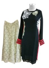 Designer Two Piece Set of Ready to Wear Kurta with Palazo Flared Pants Size 40 PSR24