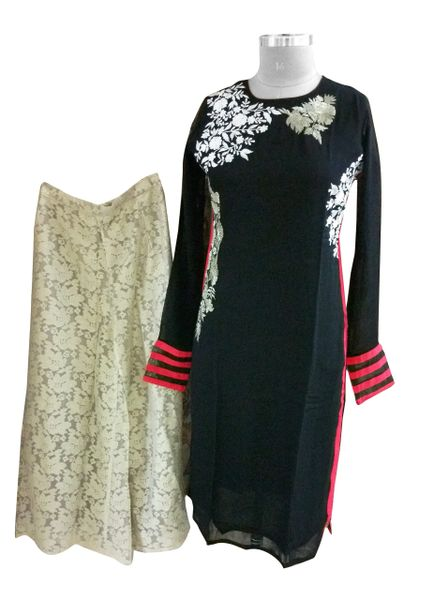 Designer Two Piece Set of Ready to Wear Kurta with Palazo Flared Pants Size 40 PSR24