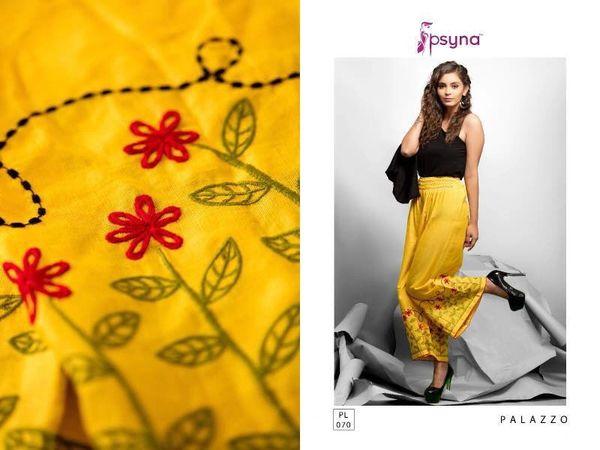 Designer Yellow Linen Cotton Embroidered Palazo Pants Free Size P702