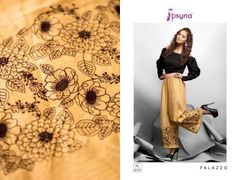 Designer Brown Linen Cotton Embroidered Palazo Pants Free Size P703