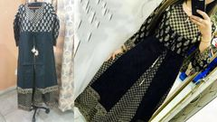 Designer Selfie Black Double Layer Gold Printed Cotton Long Kurta Kurti Dress NV845