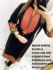 Designer Selfie Slub Cotton Black Embroidered Kurti Kurta NV1021A