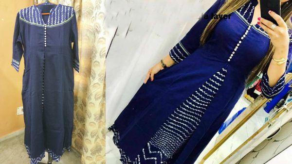 Designer Selfie Blue Double Layer Cotton Long Kurta Kurti Dress NV800