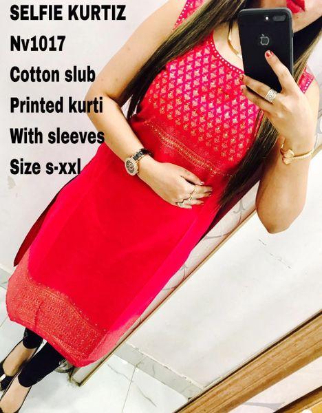 Designer Selfie Pink Cotton Embroidered Kurta Kurti NV1017