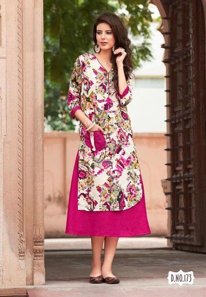Designer Double Layer Cotton Printed Kurta Kurti Dress TZ173