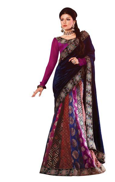 Purplish Blue Velvet Georgette Embroidered Lehenga Style Saree SC2104