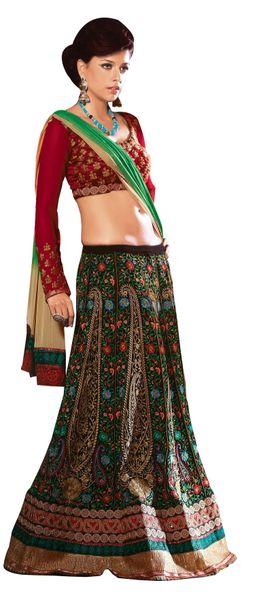 Black Multi Green Raw Silk Chiffon Embroidered Lehenga Style Saree SC2107
