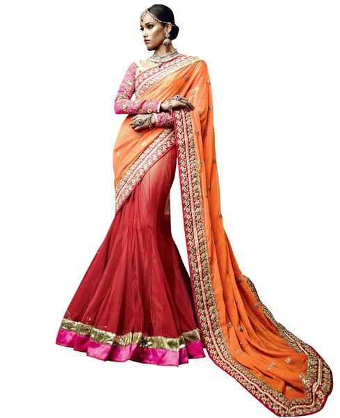Designer Indian Exclusive IIFA Ramp Walk Orange Net Lehenga saree SC33507