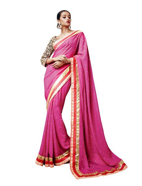 Designer Rani Shimmer Georgette Saree SC33514