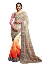 Designer Chikoo Orange Net Georgette Saree SC33518