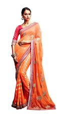 Designer Orange Net Viscose Butti Saree SC33520