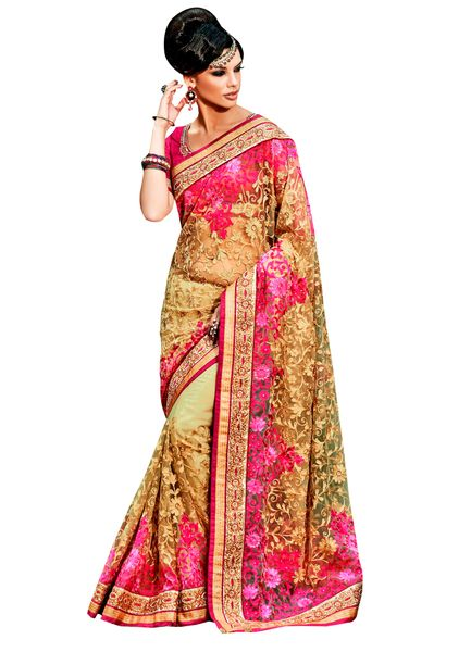 Designer Beige Net Red Embroidered Saree SC101B