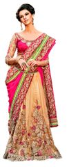 Designer Beige Net Georgette Pink Embroidered Saree SC105A