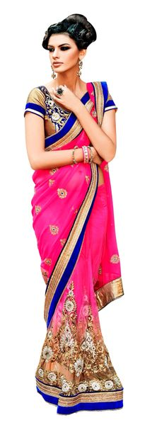 Designer Net Georgette Pink Embroidered Saree SC109A