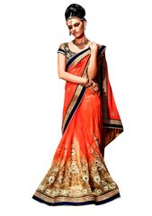 Designer Net Georgette Orange Embroidered Saree SC109B