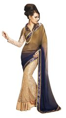 Designer Wedding Partywear Shaded Blue Golden Net Georgette Saree SC12002