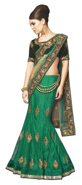 Designer Wedding Partywear Green Net Lehenga Saree SC12005