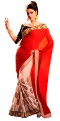 Beige Red Georgette Saree SC6001