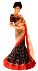 Net Georgette Black Lehenga Saree SC6002A