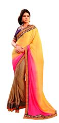 Pink Yellow Georgette Jequard Saree SC6005