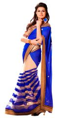 Blue Beige Georgette Saree SC6009B